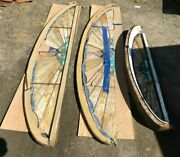 Antique 3 Vtg Arched Transom Windows Leaded Stained Slag Glass Project 322-21b