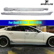 Car Body Kit Side Skirts Lip Fit For Audi A7 Rs7 11-14 Grey Primer Unpainted