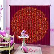 Red Retro Pattern Printing 3d Blockout Curtains Fabric Window Home Decor