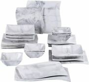 Malacasa Square Dinnerware Sets, 30 Pieces Porcelain Marble Grey Dishes Dinner S