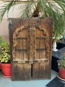 1700's Ancient Wood Carved Iron Work Old Castle 41 X 26''jharoka Arch Shape Door