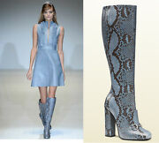 New Campaign 3500 Python Horsebit Knee High Boots Blue Brown 37 - Us 7.5
