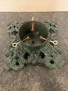 Vintage Green Cast Iron Christmas Tree Stand Heavy Duty 15x15 Ornate Holly