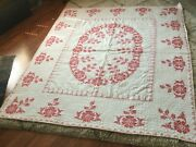 Vintage Handmade Cross Stitch Embroidered Quilt Large Size 79x90