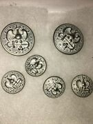 Vintage Lot 6 Eagle Stars Anchor Military Navy Officer Jacket Silver Buttons