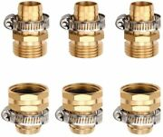 3/4 Brass Garden Water Hose Connector Repair Mender Kit Ends Fittings Clamp