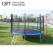 Pp 12ft Trampoline Kid Adults With Enclosure Net Indoor Outdoor Trampoline B