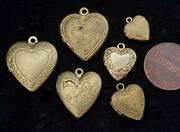 Vintage Brass And Gold Tone Metal Heart Lockets Charms Pendants Mix 6