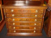 Antique Clarkand039s Six Drawer Oak Spool Thread Cabinet---spoon Carving---15593