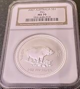 Australian 2007 S1 Silver Pig 1oz. Ngc Ms-70 Coin From Australia