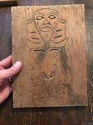 Rare 1800andrsquos Early 1900andrsquos Tlingit Carved Cedar Totemic Panel Southeast Alaska