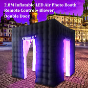 2.8m Cube Inflatable Photo Booth Air Tent Led Light Strips W/remote Control 500w