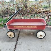 Rare Vintage Antique Western Flyer Champ Red Metal Pull Wagon 1950's Original