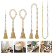 Wood Bead Garland With Tassels Farmhouse Beads Rustic Country Decor Prayer