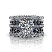 2.15 Carat Rond Brillant Coupe Jonc Jeux Solide 950 Platine Taille M N O P