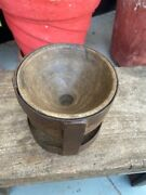 Antique Old Wooden Iron Hand Crafted Candle Stand Pot Bowl Rare Candle Holder