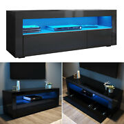 Modern Tv Stand Black Unit High Gloss Door 120cm With Rgb Led Lights Cabinet