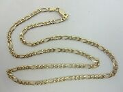 14k Solid Yellow Gold Chain Figaro Style 20 Inch 3.7 Mm 13.2 Grams Italy
