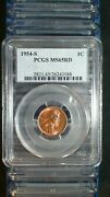 Twenty 1954 S Lincoln Wheat Cent Pcgs Ms65 Red Gem Unc 1c Coins And Storage Box