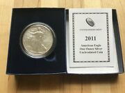 2011 W Burnished Bu American Silver Eagle Dollar Us Mint Ase Coin Coa And Box
