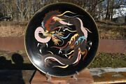 Japanese Cloisonne Dragon Plate / Charger Late 19th C Meiji Period