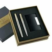 Parker Galaxy Gold Trim Ball Pen With Free Card Holder Stainless Steel Brand N