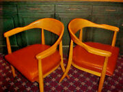 Mid Century Modern Boling Chair Co. Danish Office Library Chairs Solid Wood Pair