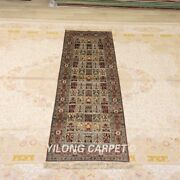 Yilong 2.5and039x8and039 Handmade Silk Rug Runner Lobby Gallery Kitchen Long Carpet Y380a