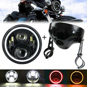 Motorcycle 7 Inch Led Headlight Red Drl Amber Turn Light + Housing Shell Bucket