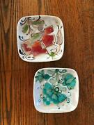 2 - 4.5 Schiavon Hand Painted Pottery Ceramic Square Dishes Signed Mid Century