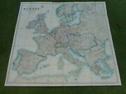 100 Original Large Europe Folding Map On Cloth C1870/s By Stanford Vgc