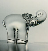 New In Box Art Glass Steuben Baby Circus Elephant African Crystal Ornament Gift