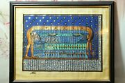 Hand Painted Framed Egyptian Art On Papyrus Signed Khedr