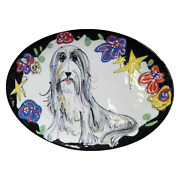 Bearded Collie Oval Serving Plate Breed Show Trophy Customized Dog Trophy