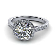 Round 0.64 Ct Real Diamond Engagement Rings 14k Solid White Gold Ring Size 7 8 9