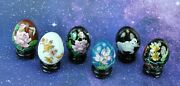 Lot Of 5 Vintage Chinese Cloisonne Eggs With Wooden Stands. Eggs Bimk/201110
