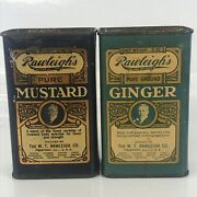 Rawleighs Litho Ginger Mustard Spice Tins Advertising Country Grocery Store