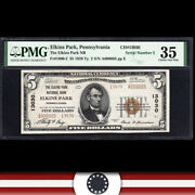 Low Serial 1929 5 Elkins Park Pa National Bank Note Pmg 35 A000005