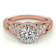 Rond 1.10 Ct Vrai Diamant Bague Mariage Solide 14k Or Rose Bande Taille M N O P