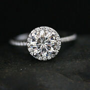 Coupe Ronde 2.15 Ct. Anneau Mariage Diamant 14k Fianandccedilailles Blanc Solide Or Band