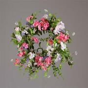 New Country Farmhouse Spring Summer Easter Pink Purple White Floral Wreath 20