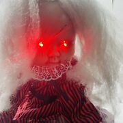 Custom Made Moving Creepy Horror Scary Girl Doll With Red Light Up Eyes