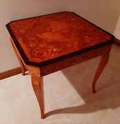 Vintage Italian Marquetry Inlaid Wood Multi-game Table W/ Roulette Chess Etc.