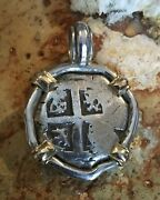 Pirate Coin Treasure Piece Of Eight Hand-struck Authentic Cob 2r Ss/14k Pendant
