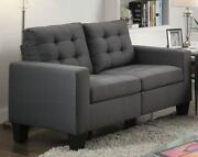 Sofa And Love Seat Home Decors Living Room Furniture Set Slim Track Arm Gray Linen