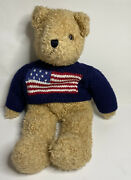 Ty Plush Brown Bear Curly Sheand039s A Grand Old Flag Sweater 17 1990 Vintage U.s.a.