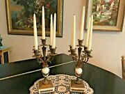 Matching 16 High Vintage Candelabras In Bronze And Marble