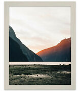 42x36 White Wash Wood Picture Frame - With Acrylic Front And Foam Board Backing