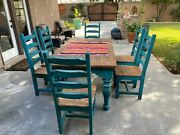 Vintage Rustic Farmhouse Authentic Mexican Dinning Table With Chairs Heavy Wood
