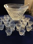 Punch Bowl 12 Cups And Fruit Bowl 12 Footed Cups Anchor Hocking Diamond Pt Wexford